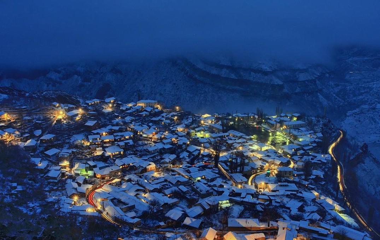 Ночной Гуниб зимой